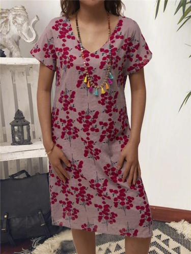 Relaxed Fit V Neck Floral Printed Short Sleeve Midi Length Shift Dress