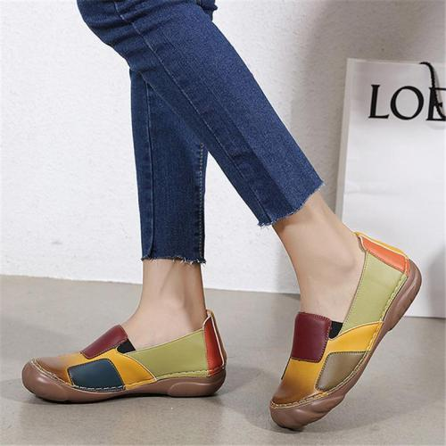 Stylish Comfortable Contrasting Soft Footbed Low-Cut Flat Loafers