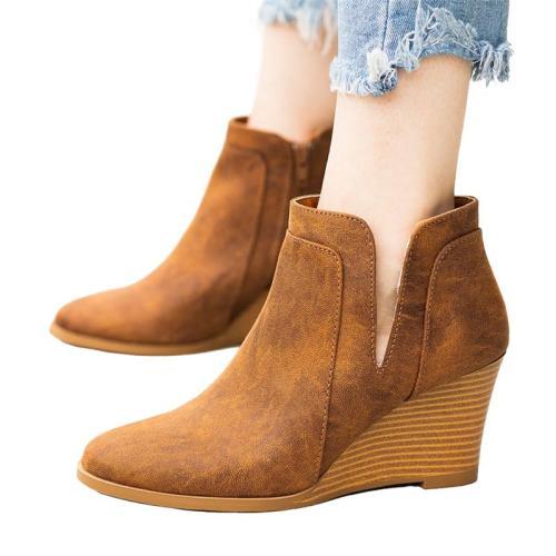 Vintage Side Zipper Wedge Heel Boots