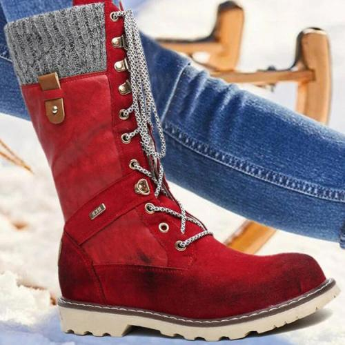 Women's Splicing Lace Up Mid Calf Winter Snow Boots
