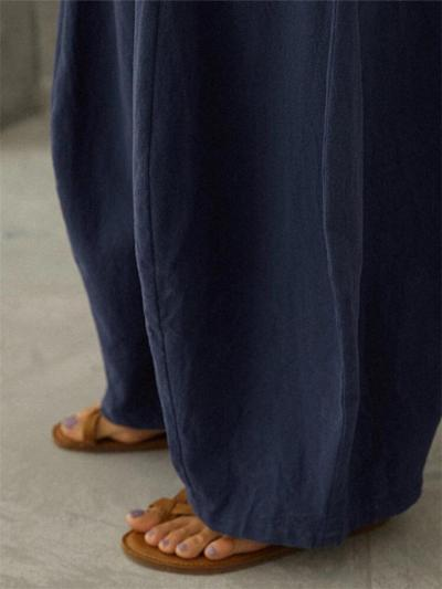 Relaxed Fit Elastic Waistband Solid Color Pocket Wide Leg Pants