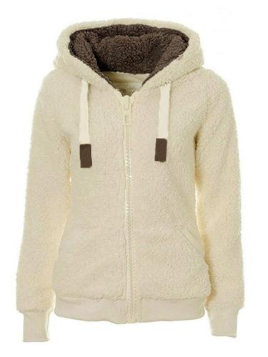 Women's Warm Casual Zipper Up Hooded Plush Coat