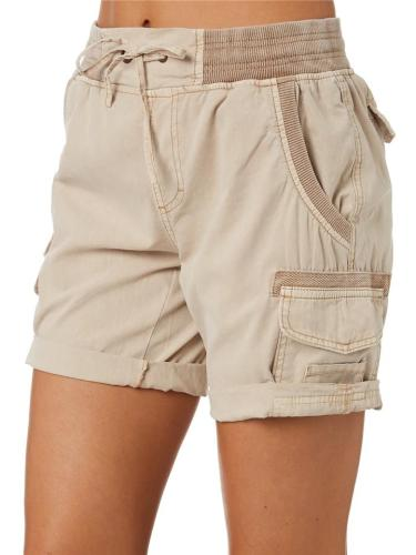 Casual Style Lightweight Mid-Rise Drawstring Multi-Pocket Rolled Cargo Shorts