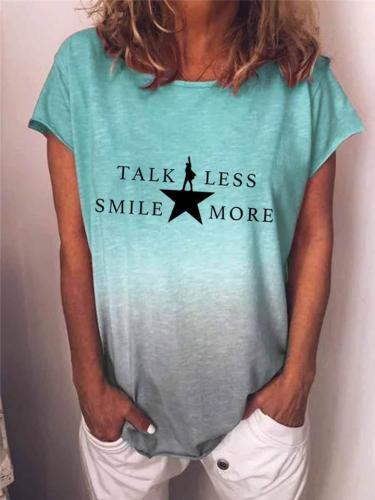 Oversize Fit Crew Neck Star Letters Print Gradient Color T-Shirt