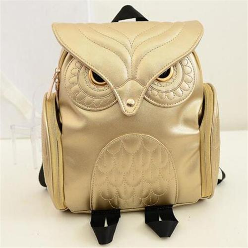 Creative Owl Adjustable Shoulder Strap Artificial Leather Small Backpack