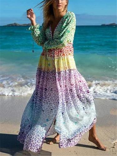 Flowy Plunging V Neck Printed Lining Pullover Maxi Beach Dress