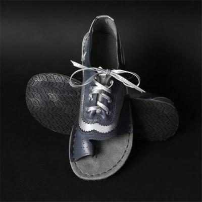 Fashionable Toe-Ring Lace-Up Low-Cut Flat Heel Shoes