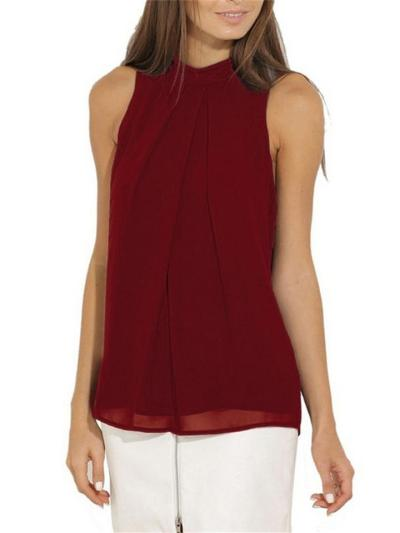 Casual Fit Halter Neck Sleeveless Pleated Chiffon Tops