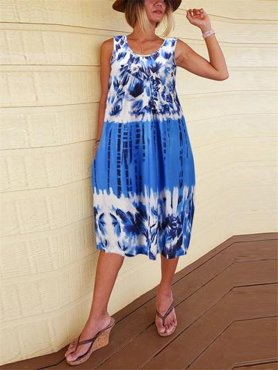 Stylish Scoop Neck Tie-Dye Floral Sleeveless Flare Midi Dress