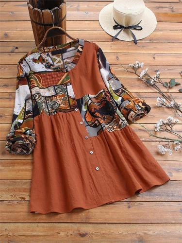 Trendy Printed Splice Long Sleeve Round Collar Shirts For Women