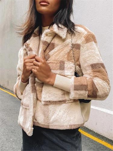 Fashion Stand-up Collar Plaid Villus Woollen Coat