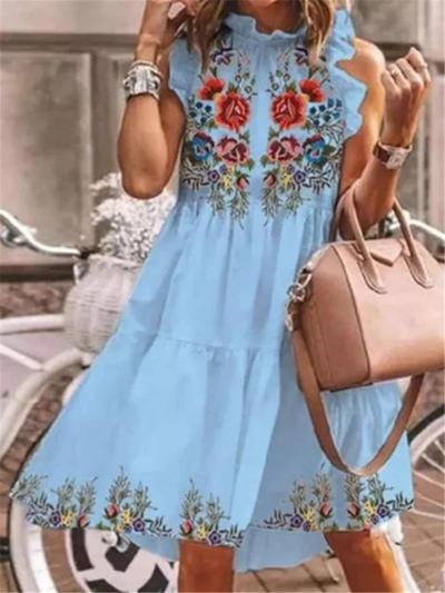 Stylish Round Neck Floral Printed Sleeveless Pullover Flare Dress