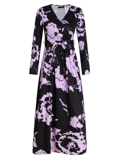 Stylish Long Sleeve Wrap V Neck Floral Waist Tie Maxi Dress