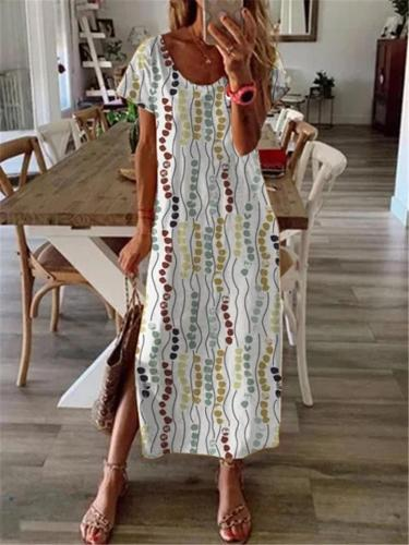 Relaxed Fit Scoop Neck Floral Short Sleeve Side Slit Maxi Dress