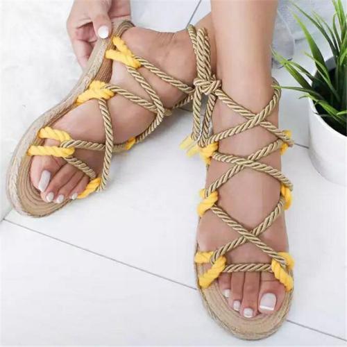Lightweight Braided Cross Lace-Up Flat Beach Sandals