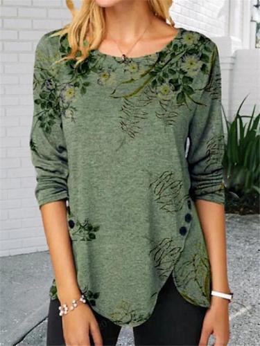 Casual Floral Print Symmetric Long Sleeve Shirt