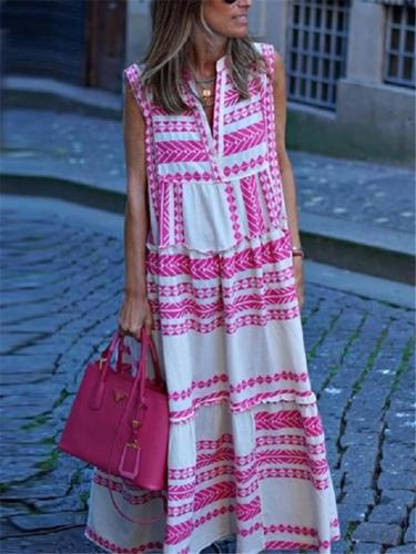 Loose Fit V Neck Geometric Pattern Sleeveless Pullover Maxi Dress
