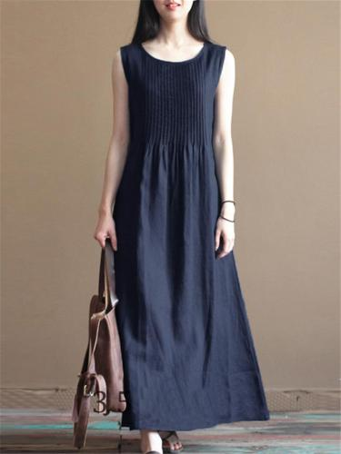 Loose Fit Solid Color Crew Neck Sleeveless Pleated Maxi Dress