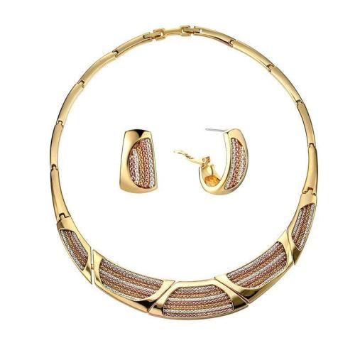 Women's Gold Plated Geometric Necklace Colorful Chain Earrings Luxury Necklace Jewelry Set