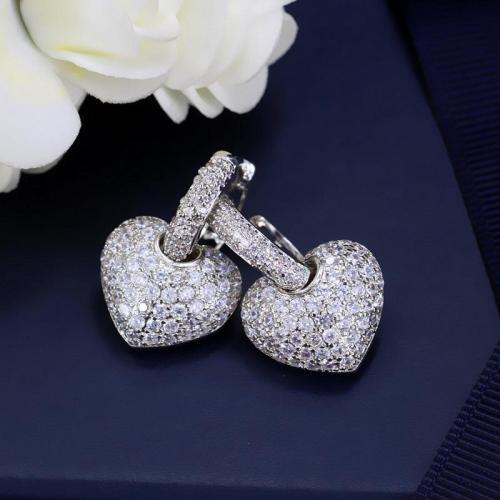 Women's Cute Heart Shaped Zirconia Earrings