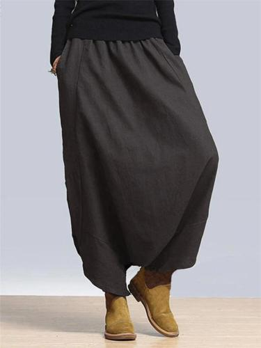 Oversized Elastic Waist Drop Crotch Wide-Leg Pocket Linen Pants