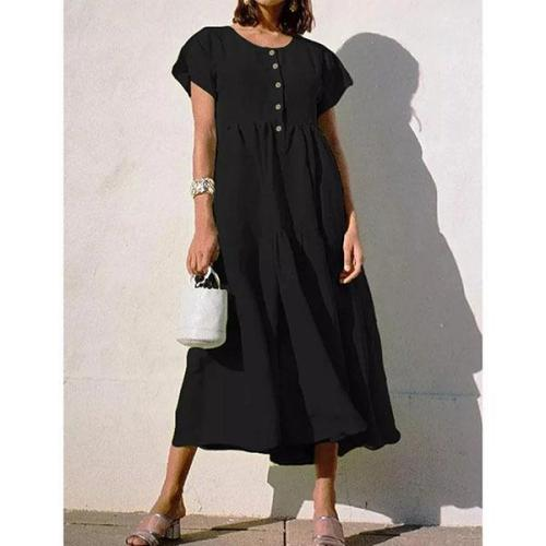Casual Buttoned Plus Size Dress