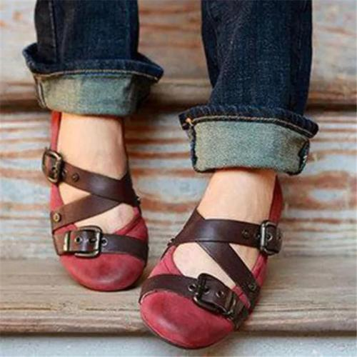Women Casual Buckle Strap Round Toe Slip-On Flats Loafers