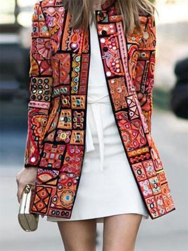 Relaxed Fit Printed Round Neck Long Sleeve Coat
