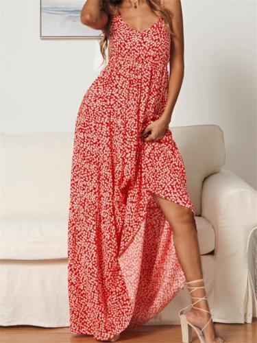 V Neck Floral Print  Summer Dress