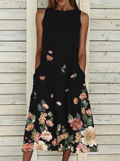 Trendy Round Neck Floral Printed Sleeveless Pocket Midi Dress