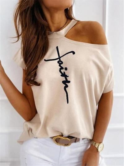 Trendy Casual One Shoulder Letter Printed Short Sleeve T-Shirt