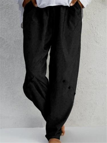 Women's Oversized Button Deco Elastic Waist Solid Color Tapered Pants