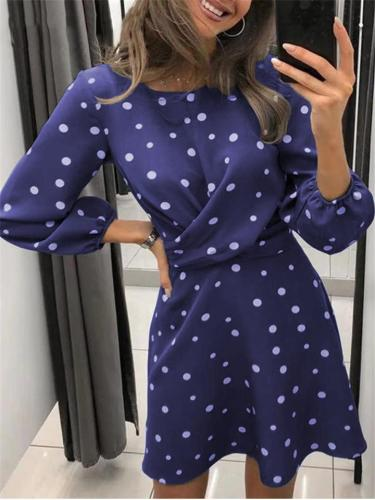 Fashionable Round Neck Ruched Waist Polka Dot Long Sleeve Dress