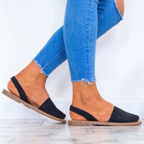 Summer Casual Peep Toe Slip-On Flats Sandals