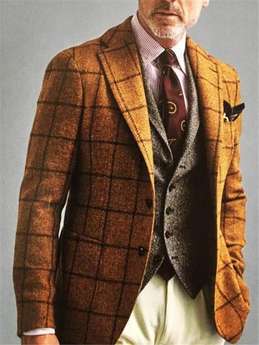 Classic Gentle Plaid Slim Fit Blazer For Men