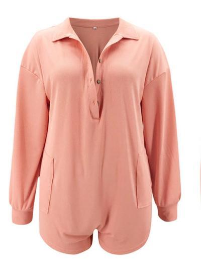 Stylish V Neck Button Up Lapel Collar Long Sleeve Pocket Jumpsuit