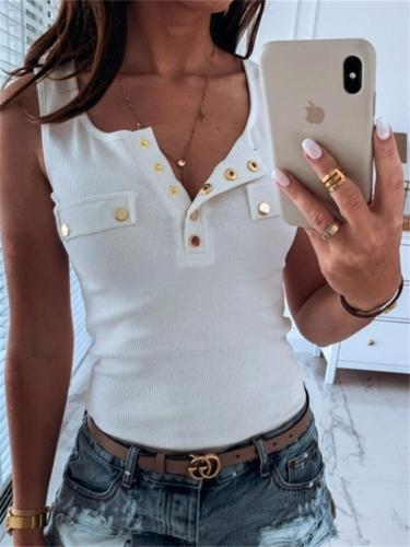 Scoop Neck Slim Fit Button Up Sleeveless Top