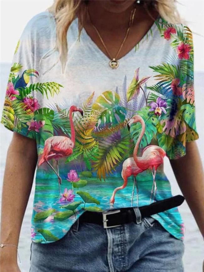 Loose Fit Multicolor Printed V Neck Pullover Short Sleeve T-Shirt