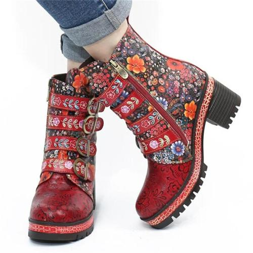 Stylish Fur Lining Buckle Up Floral Printed Chunky Mid Heel Boots