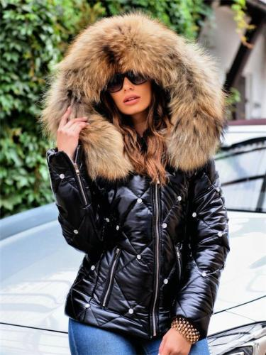 Cozy Warm Full Zipper Faux Fur Trim Pocket Padded Coat