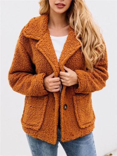 Autumn Winter Button Lapels Pocket Jacket