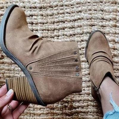 Retro Style Side Zipper Chunky High Heel Short Boots