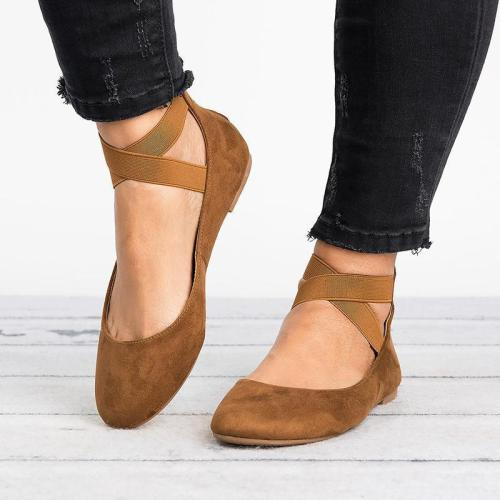 Women's Elastic Band Casual Flat Ballerina Shoes