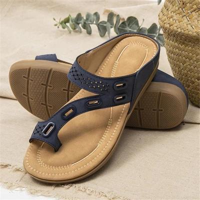 Stylish Flat Heel Soft Footbed Toe-Ring Non-Slip Slippers