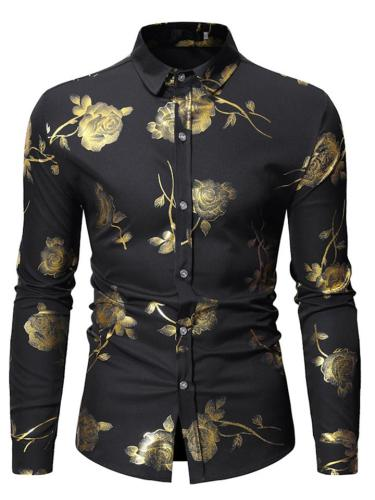 Men's Slim Fit Button Up Floral Printed Long Sleeve Shirt