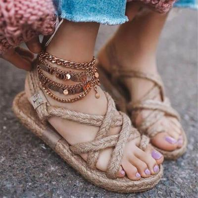 Lightweight Braided Cross Strap Toe-Ring Flat Heel Sandals