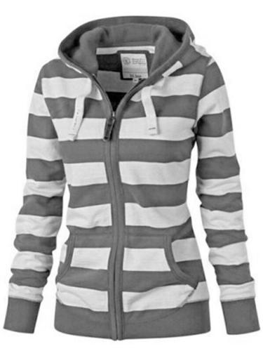Casual Style Striped Zipper Pocket Drawstring Hooded Sweatshirt