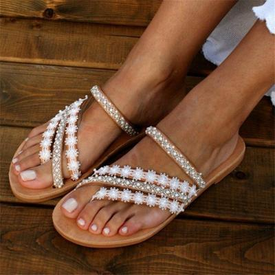 Bohemian Style Floral Rhinestone Flip Flops Flat Heel Slippers