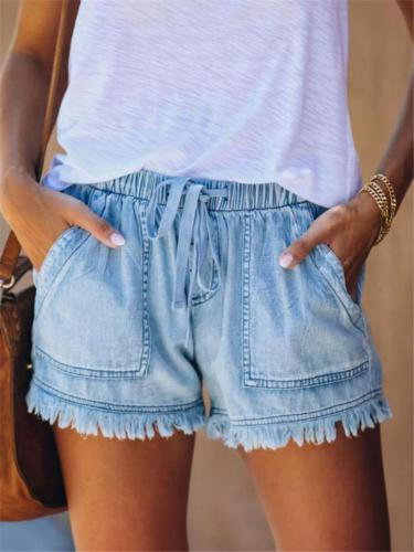 Trendy Elastic Waist Frayed Hem Drawstring Pocket Shorts