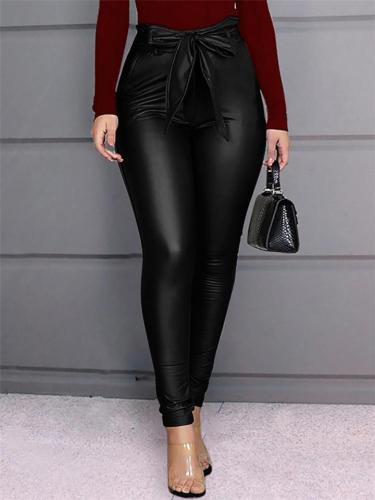 Sexy Fashion Solid Color Leather Pants For Women